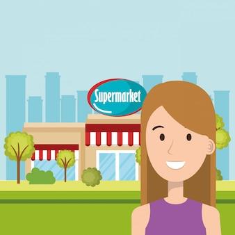 スーパーマーケットの建物のフロントシーンの女性