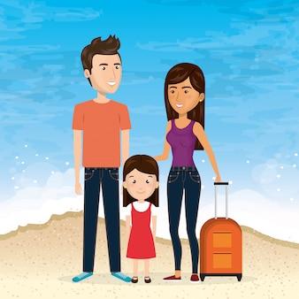 Семья на пляже летние каникулы