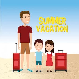 ビーチでの夏休みの家族
