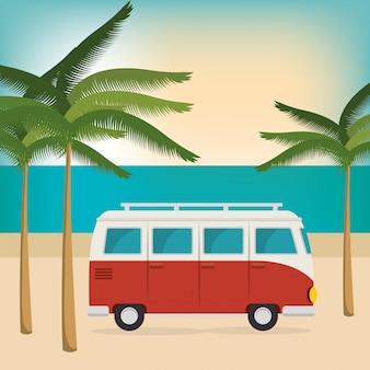 ビーチでの夏の休暇の車