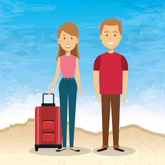ビーチでの夏休みのカップル