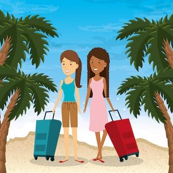 Пара на пляже летние каникулы
