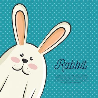 分離された漫画ウサギデザイン