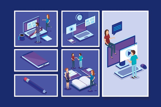 人とオフィス機器の束