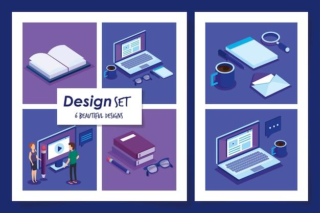 オフィス機器を持つ人々のデザイン