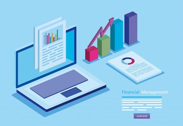 Управление финансами с ноутбуком и инфографики
