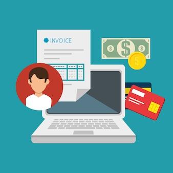 Концепция оплаты счетов изолированных значок