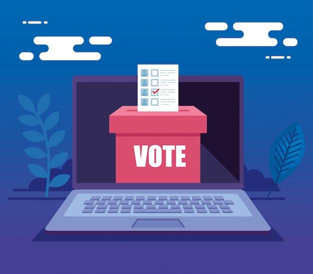 投票箱でオンライン投票用のラップトップコンピューター