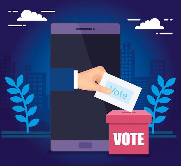 Рука и смартфон для голосования онлайн с урной для голосования
