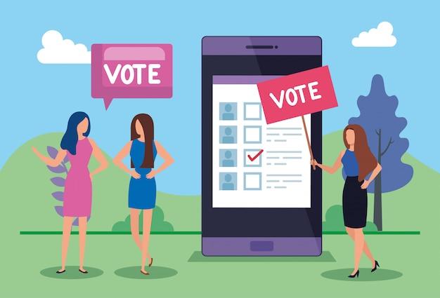投票のレタリングとスマートフォンを持つビジネス人々