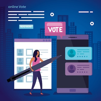 ビジネスの女性とスマートフォンでオンライン投票のイラスト