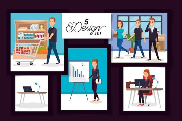 Проекты деловых людей на рабочем месте и покупателя