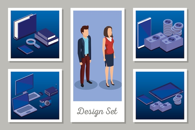デジタルテクノロジーとビジネスの人々のデザインセット