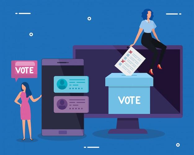 オンライン投票のためのコンピューターとスマートフォンを持つビジネス女性