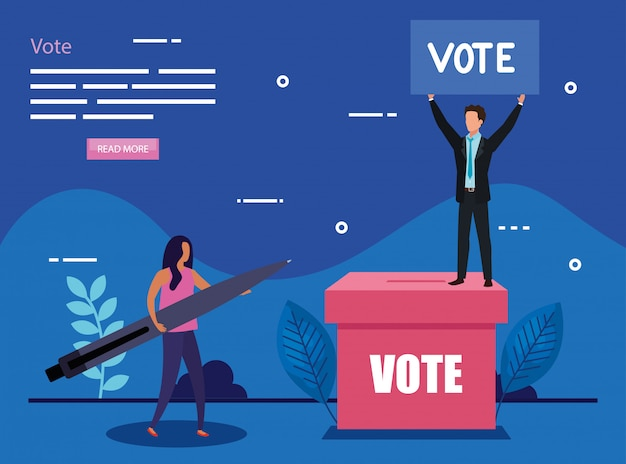 ビジネスカップルと投票のイラスト