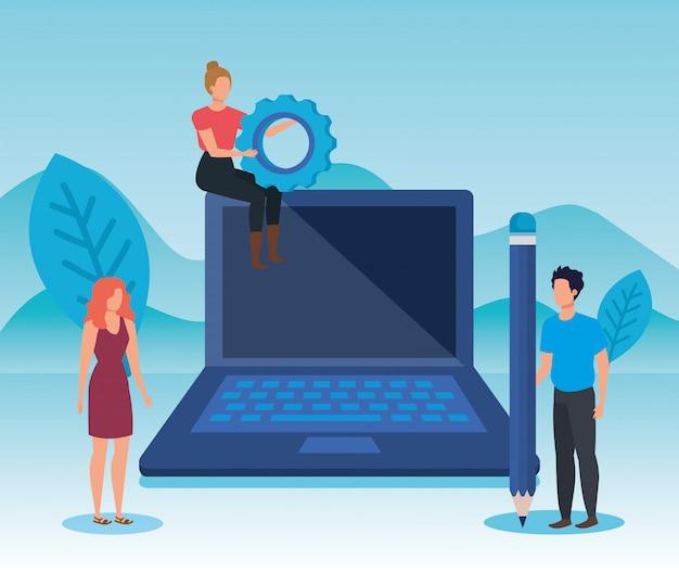 Совместная работа женщин и мужчин с технологией и оборудованием ноутбуков