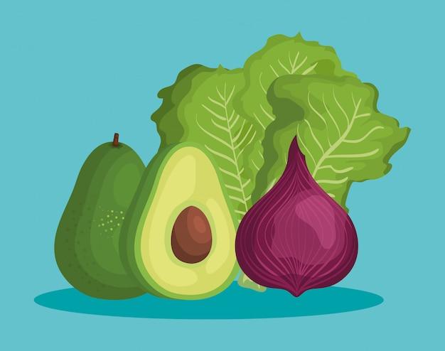 健康的な野菜の栄養とおいしいアボカド
