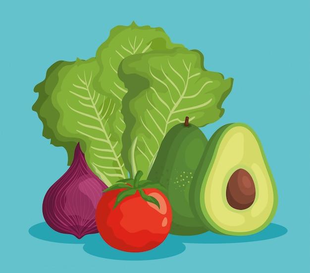 新鮮な野菜と美味しいアボカドのフルーツ