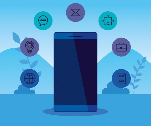 Технология смартфонов со стратегией бизнес-иконок