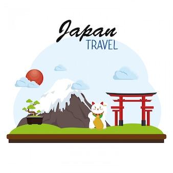 Концепция плаката путешествия японии
