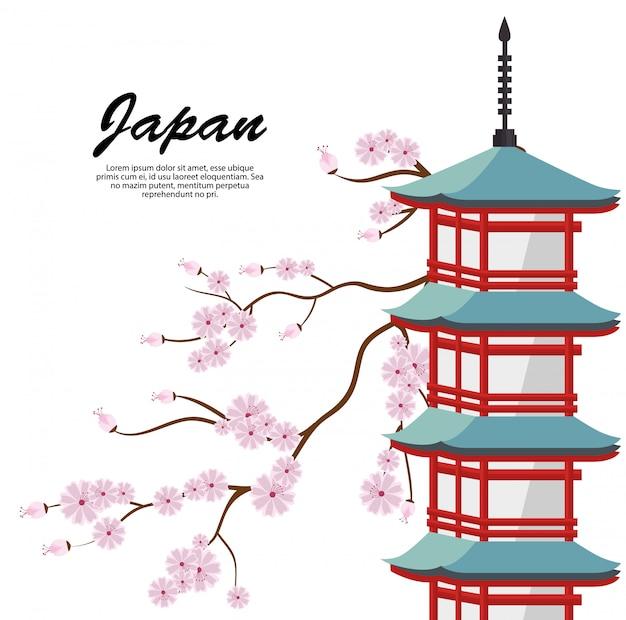 Значок плаката путешествия японии