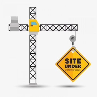クレーンは建設シンボルの下でサイトを保持します
