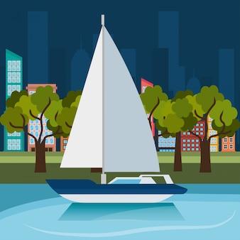 海の冒険帆船ラベル