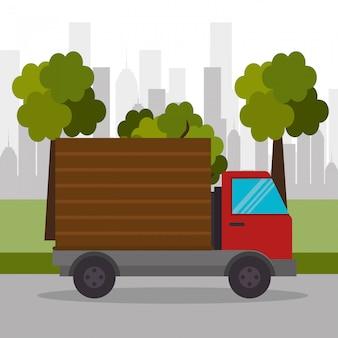 トラック配達町輸送