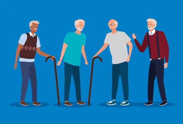 Набор стариков с повседневной одеждой