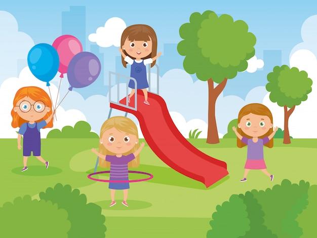 Милые девушки в парке играя иллюстрацию