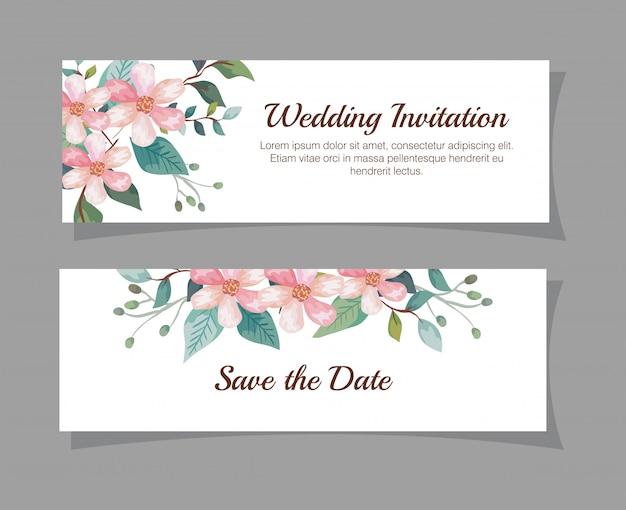 Набор свадебных пригласительных билетов с украшением цветами