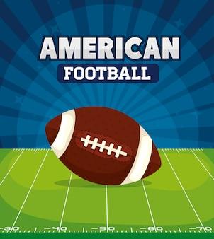 フィールド図にボールとアメリカンフットボール
