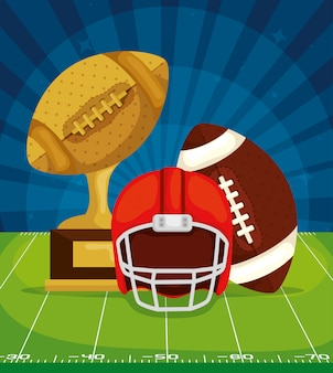 アメリカのサッカーフィールドでヘルメットとボールのトロフィー
