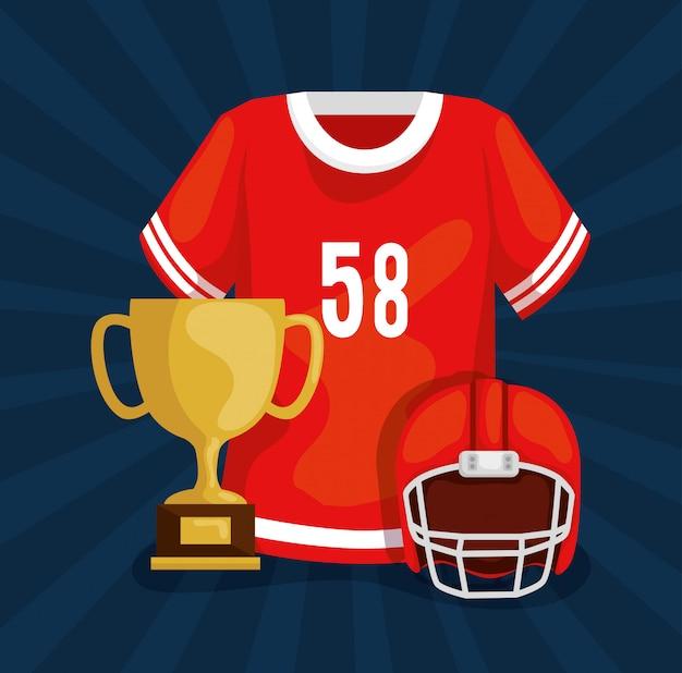 トロフィーとヘルメットのアメリカンフットボールシャツ