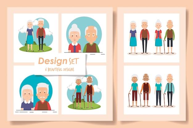 祖父母のキャラクターのイラストセット