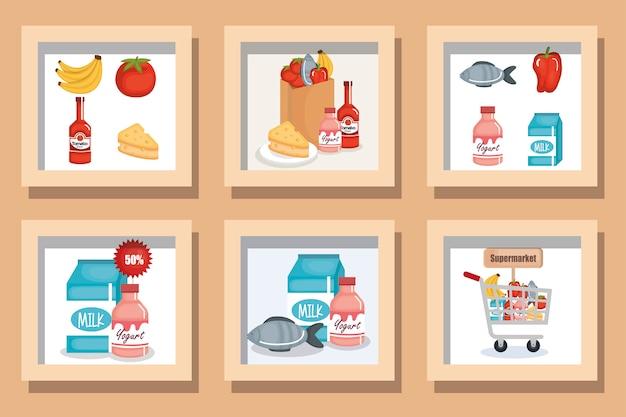 Набор иллюстраций супермаркета