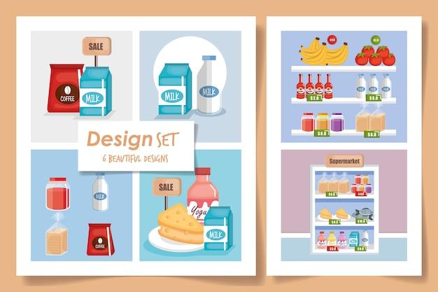 Иллюстрация набор сцен супермаркета