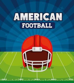 フィールド図にヘルメットとアメリカンフットボール