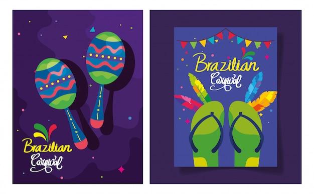 Набор постера карнавального с орнаментом бразилия