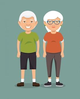 スポーツ服を着た祖父母