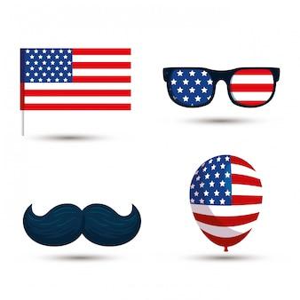 米国旗メガネ口ひげとバルーン