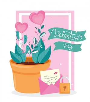 Вазон и конверт милый день святого валентина иллюстрация