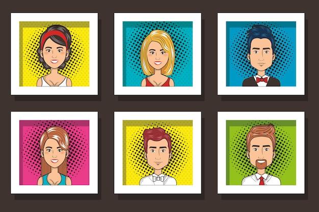 Связка карточек изящного лица людей