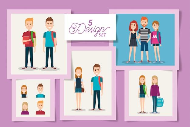 Пять карточек молодых студентов