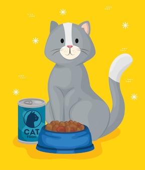 Милый маленький кот с блюдом и банкой с едой