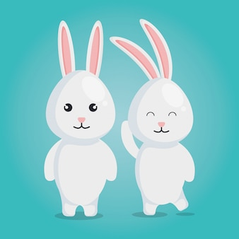 かわいいウサギのカップルのキャラクター
