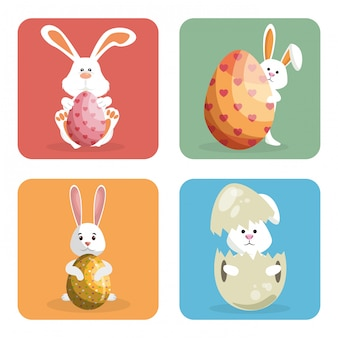 Кролик с яйцами расписной пасхальный праздник