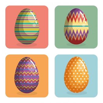 幸せなイースターのお祝いを描いた卵