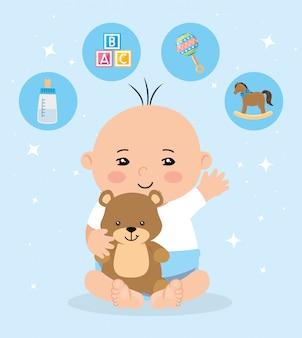 Милый маленький мальчик с набором иконок