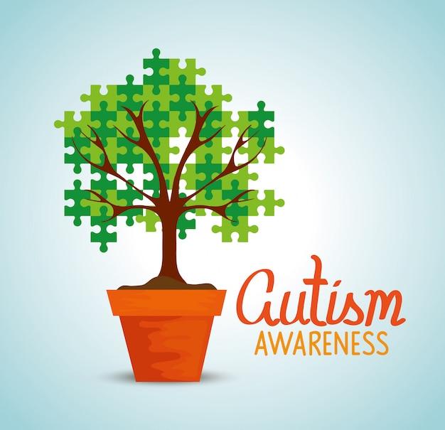 鉢植えの木と世界の自閉症の日
